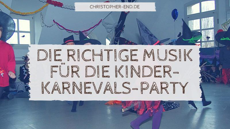 Bild: Als Hexen verkleidete Kinder tanzen. Text: Die richtige Musik für die Kinder-Karnevals-Party
