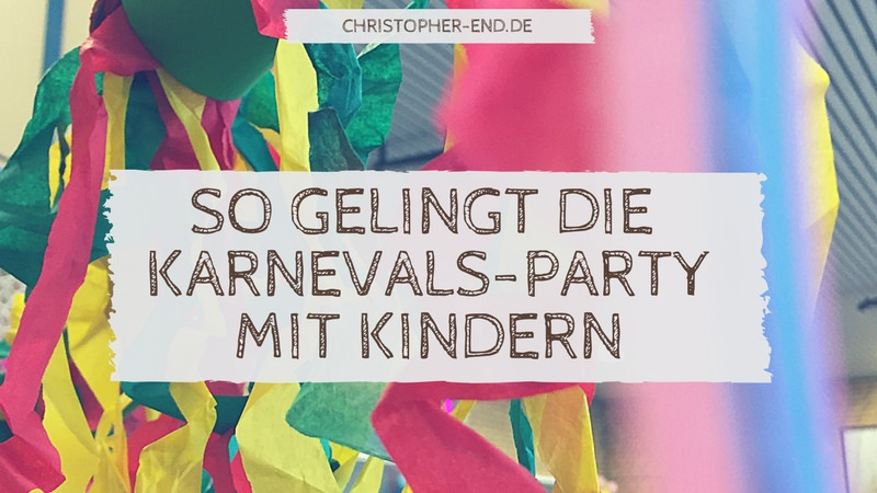 Bild: Bunte Bänder. Text: Die Karnevals-Party
