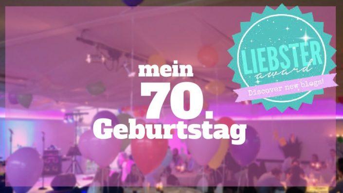 Text: Mein 70. Geburtstag. Bild: feiernde Gesellschaft