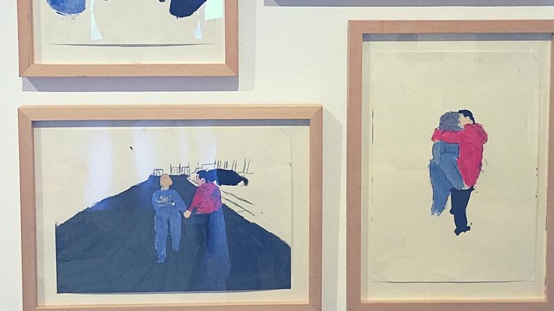 Gemälde, die zwei Liebende zeigen. Aus der Ausstellung Touchdown.