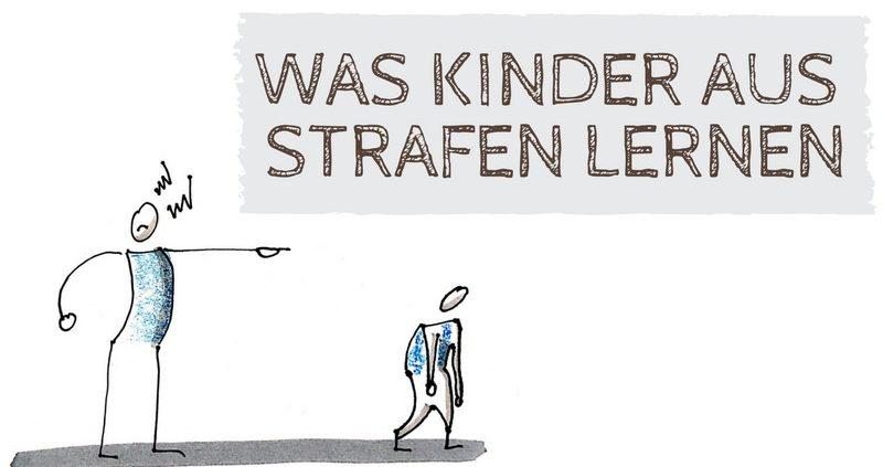 Zeichnung eines Erwachsenen, der mit einem Kind schimpft. Text: Was Kinder aus Strafen lernen.