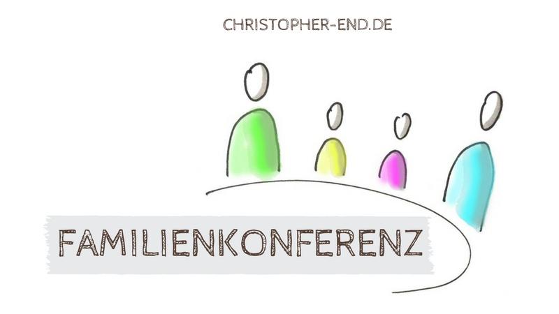 Zeichnung einer Familie. Text: Familienkonferenz