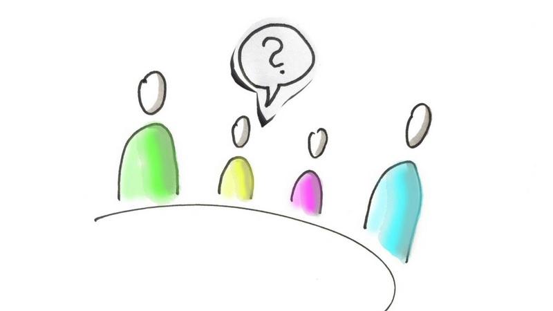 Zeichnung einer Familie um einen Tisch mit Fragezeichen