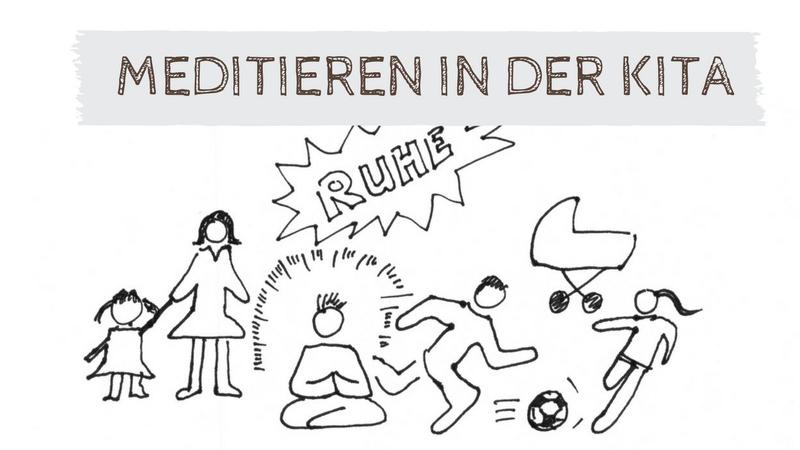 Meditation in der Kita. Zeichnung eines Kindergartens mit einem Kind, das meditiert.