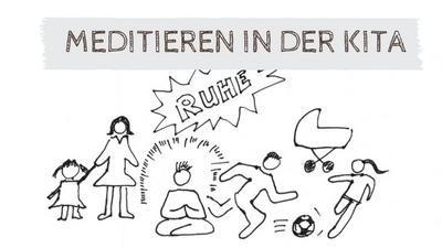 Meditation in der Kita. Zeichnung eines Kindergartens mit meditierendem Kind